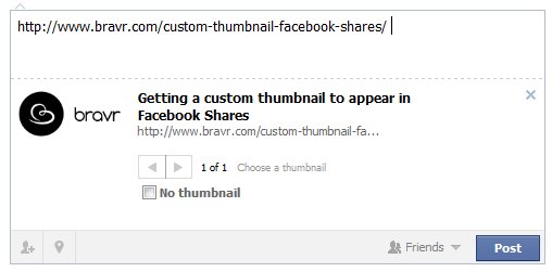 Custom thumbnails for Facebook Shares